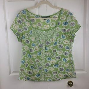 Boden Floral Boho Cotton Button Up Blouse 14 EUC